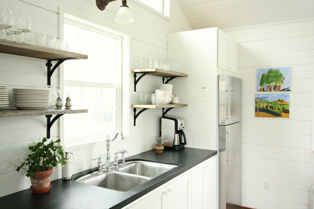 Chalkboard Painted Countertops Open Kitchen Shelves - Assortment